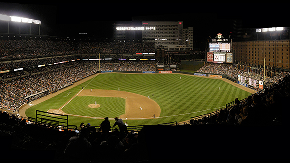 Oriole Park at Camden Yards at night in Baltimore Maryland