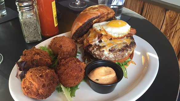 Breakfast Burger at Myth & Moonshine in Baltimore Maryland