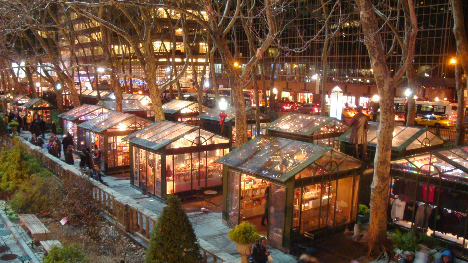 Winter Village Holiday shops inside Bryant Park in NYC