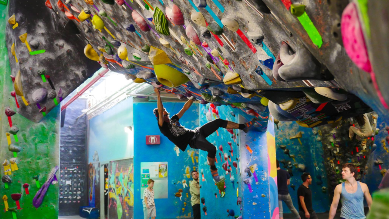 Bouldering climbers at Brooklyn Boulders Indoor Climbing Gym