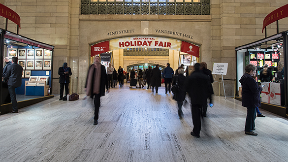 Holiday Fair sign inside Grand Central in NYC