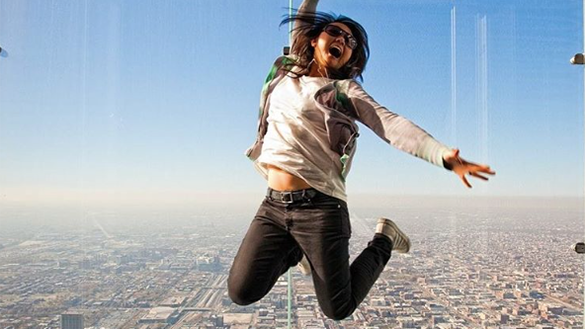 Girl Jumping on Skydeck