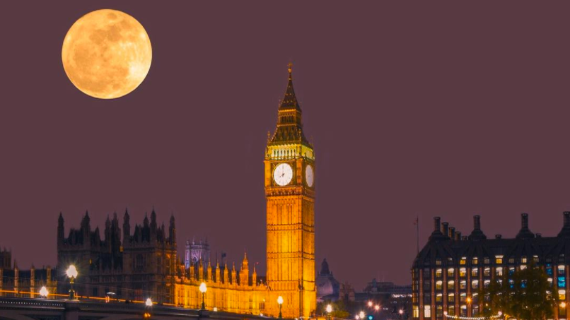 2016 Supermoon over South Bank Big Ben London England