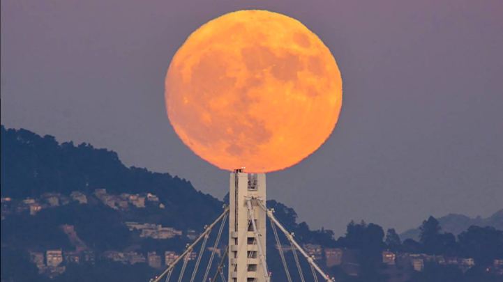 2016 Supermoon over Bay Bridge in San Francisco California