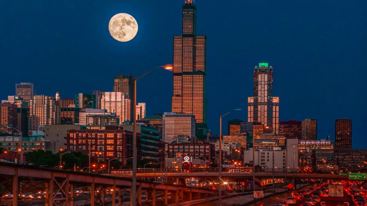 Supermoon 2016 over interstate 290 in Chicago Illinois
