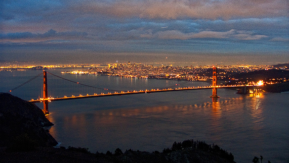 View of Golden Gate Bridge from Hawk Hill in Marin County