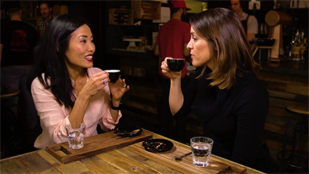 Travel Savvy host Paula Keung and Julia Peters with Coffee
