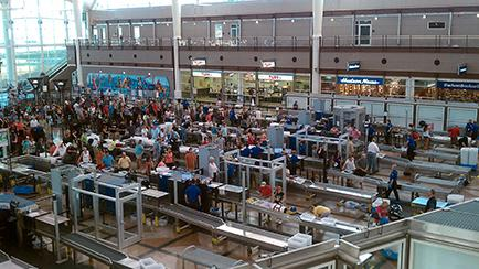 View of a busy TSA security line
