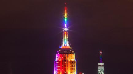 Empire State Building in NYC in Lit in LGBTQ Rainbow Colors