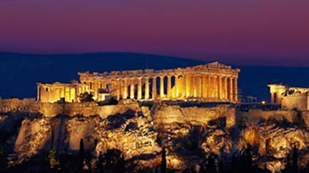 View of the Parthenon from Hotel Grand Bretagne in Athens